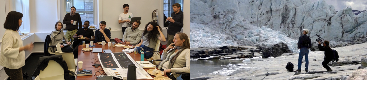 The artist and designer Maya Lin meets Earth Institute scientists and students; Initiative director Andrew Revkin tapes an interview with a glaciologist in Greenland.